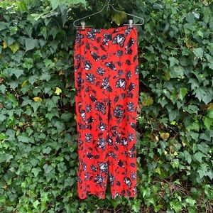 🥀 Vince Camuto Red Floral Dress Pants Size 2